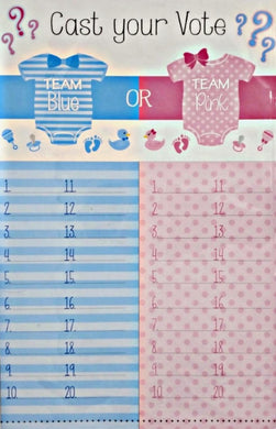 Gender reveal Is it a boy or girl? tally sheet