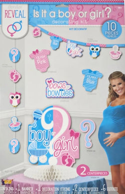 Gender Reveal Is it a boy or girl? 10-piece decorating kit