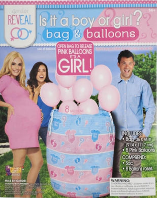 Gender Reveal Is it a boy or girl? bag and pink balloons - 1 piece