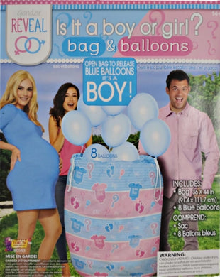 Gender Reveal Is it a boy or girl? bag and blue balloons - 1 piece