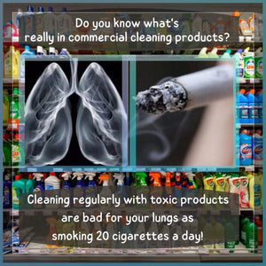 CLEANING PRODUCTS ARE AS BAD FOR LUNGS AS SMOKING 20 CIGARETTES A DAY.