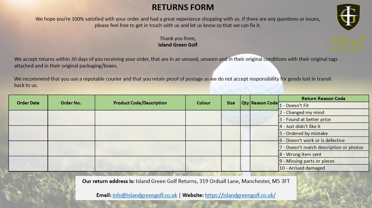 Island Green Returns Form