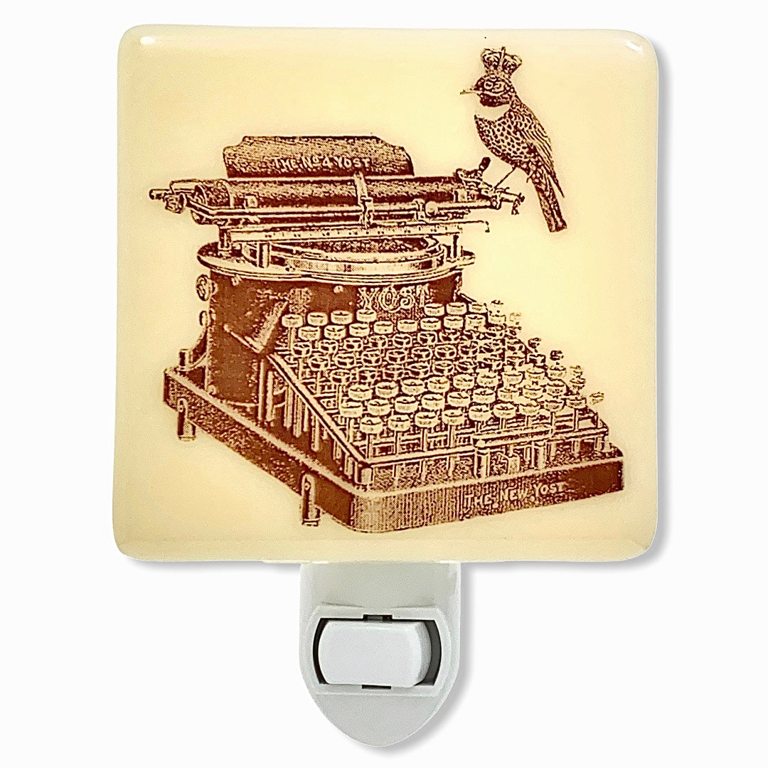 Bird and Vintage Typewriter  Night Light