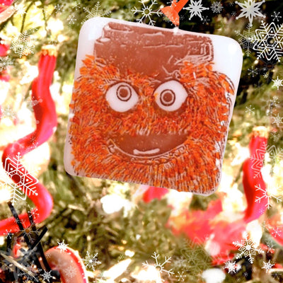 "Gritty - Philadelphia Flyers Ornament with Orange Glass ""Glitter"""