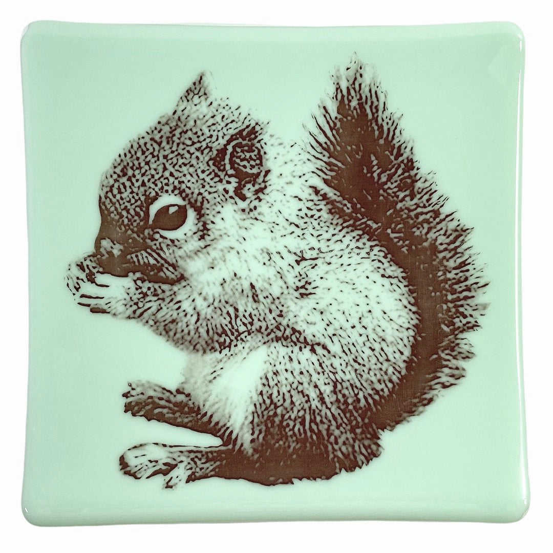 "Squirrel Tray 7.5"" Mint Green Glass"