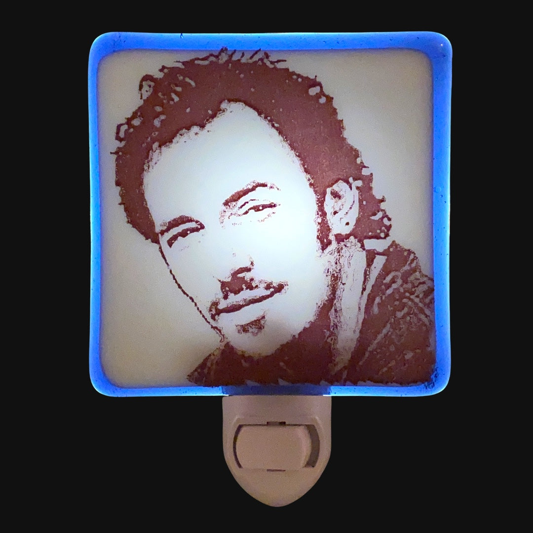 Bruce Springsteen Sketch Night Light Fused Glass