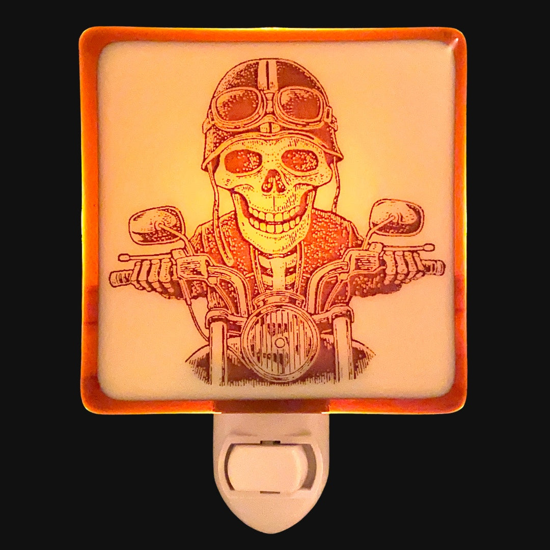 Skeleton Riding Motorcycle Night Light