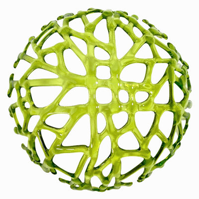 Coral Branch Bowl | Large Lime Green Transparent Glass