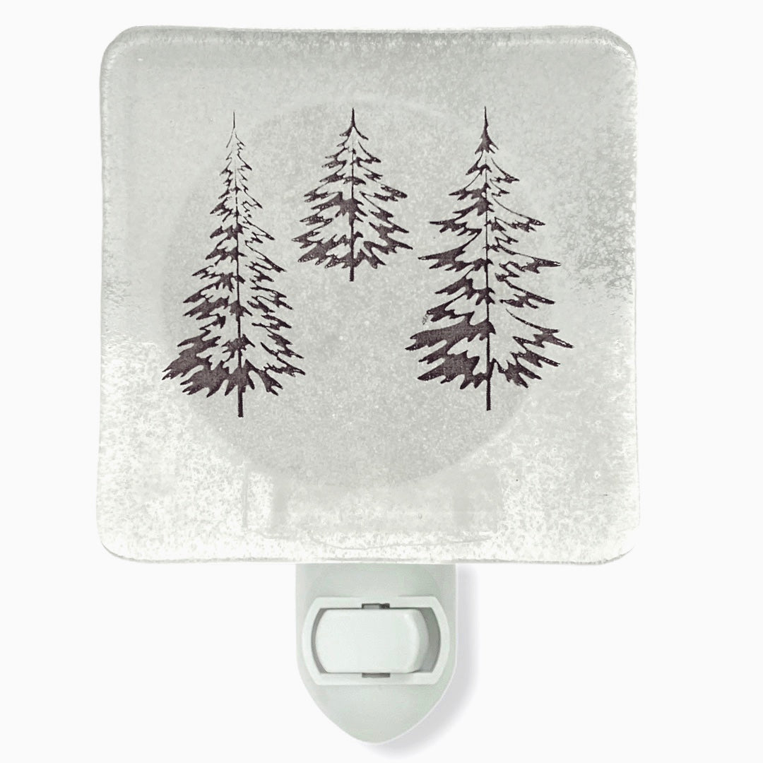 "Winter Nature Scene ""Snow Globe"" Fused Glass Night Light"