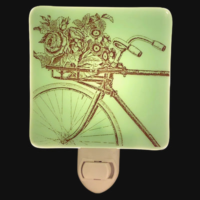 Rustic Bicycle with Flowers in Handlebar Basket Night Light