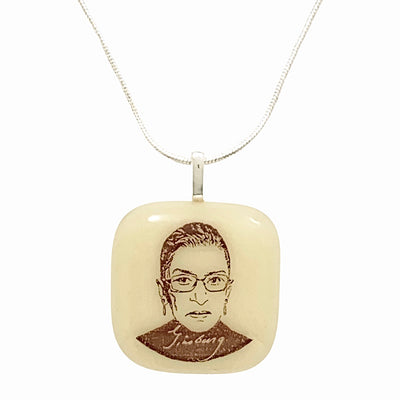 Ruth Bader Ginsburg Necklace Fused Glass
