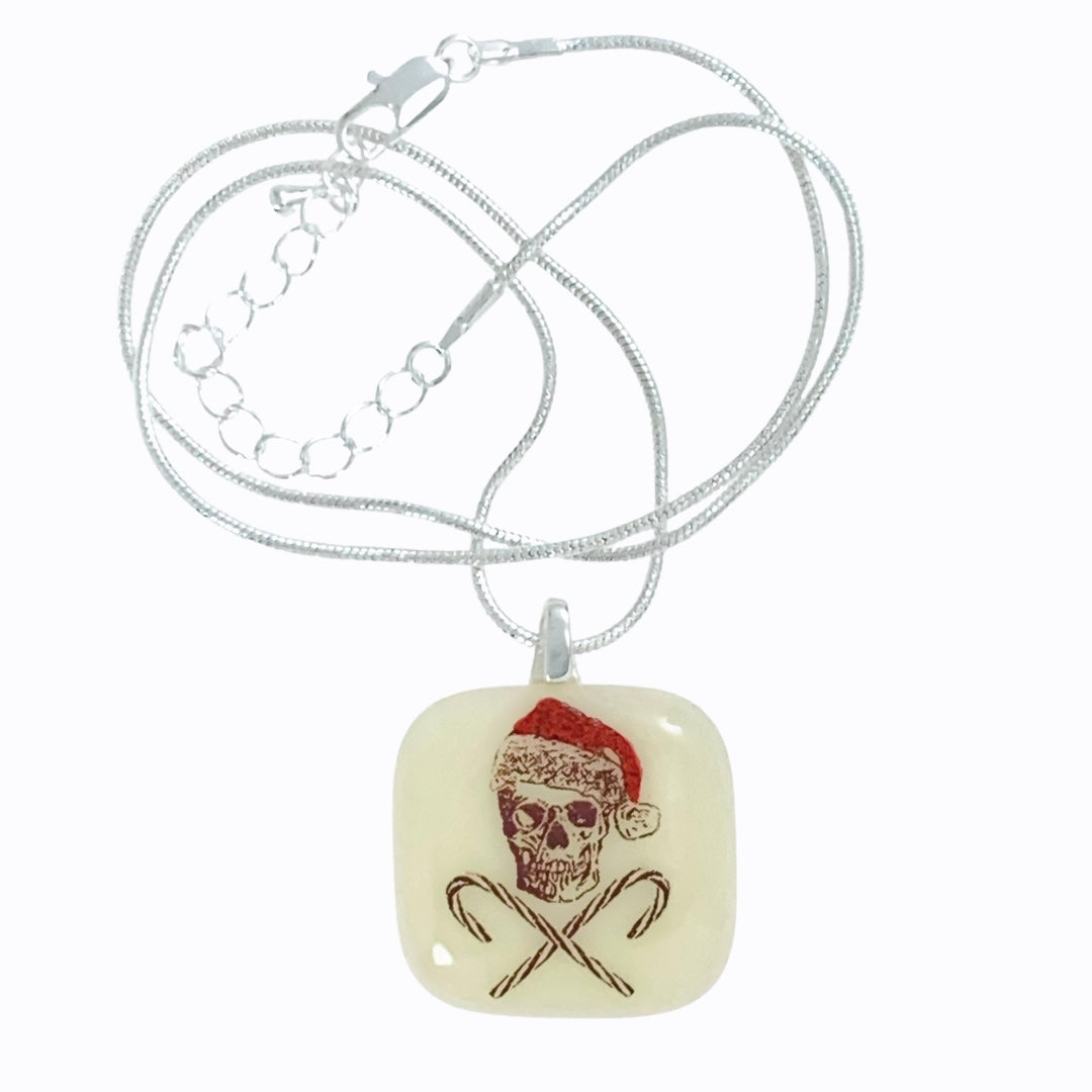 Skull and Crossbones Christmas Pendant Necklace