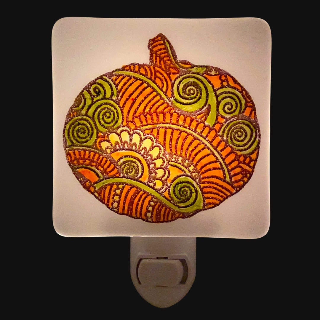 Patterned Pumpkin Night Light - Hand Painted Fall Colors