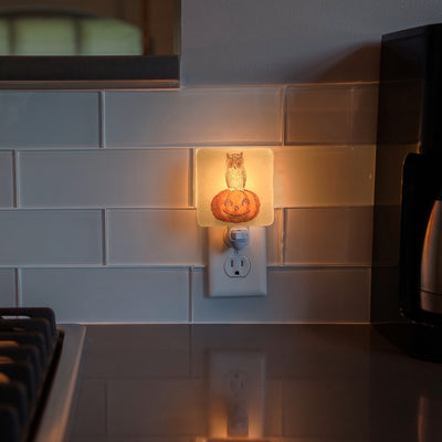 Halloween Vintage Owl and Jack-O-Lantern Night Light
