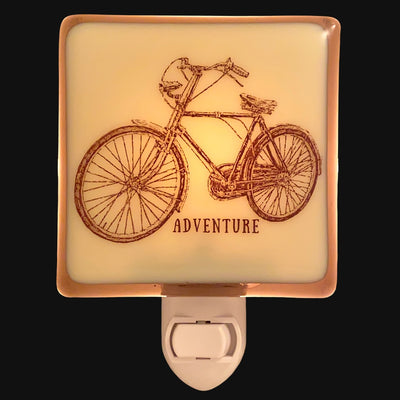 "Retro Bicycle ""Adventure"" Night Light, Summertime Decor"