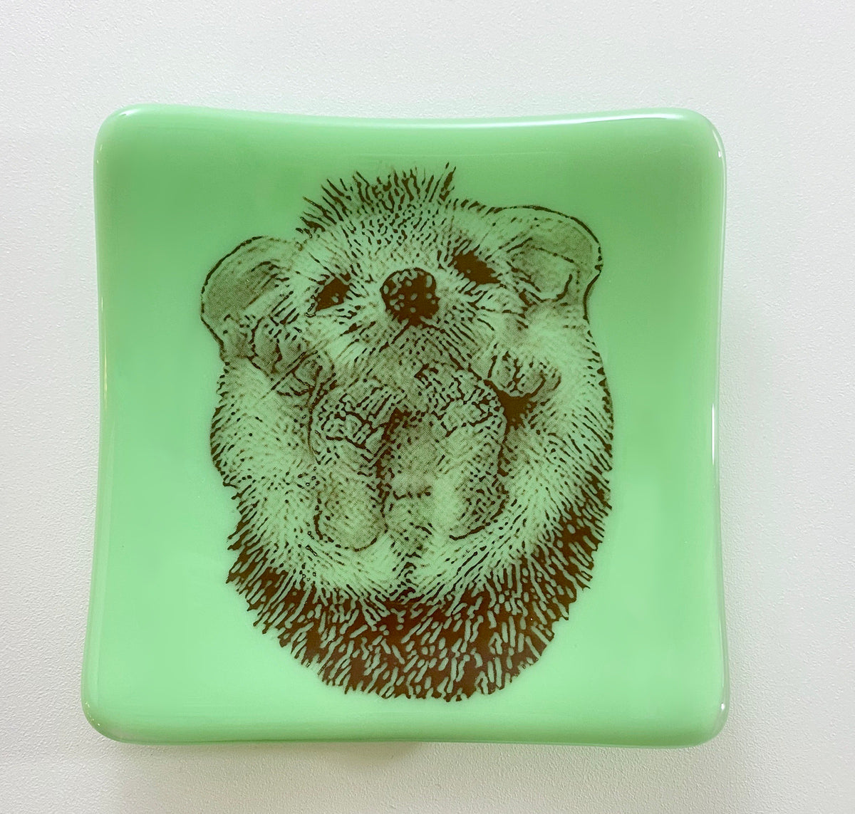 Hedgehog Dish Jadeite Mint Green Glass