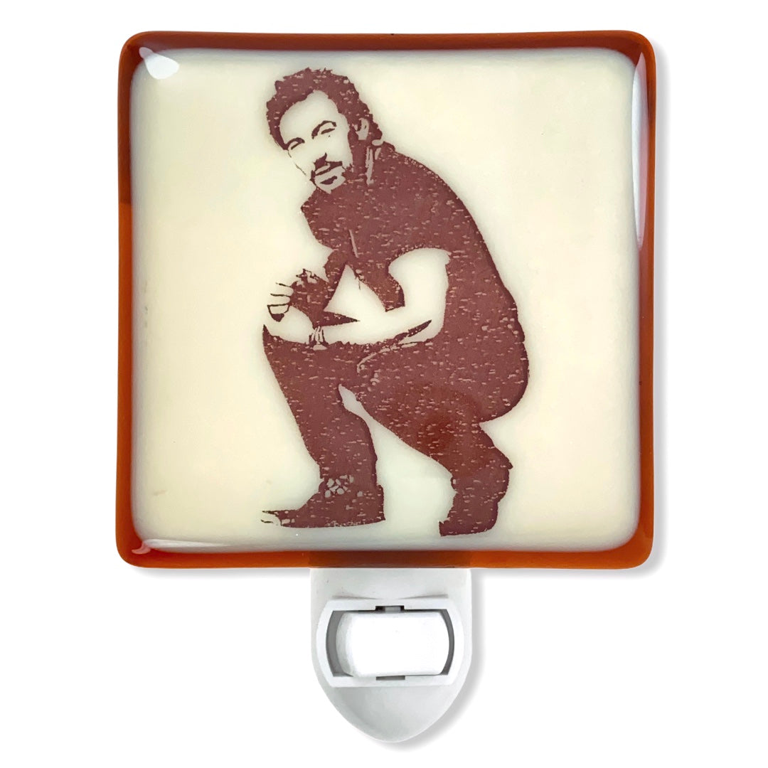 Bruce Springsteen Stencil Night Light Fused Glass