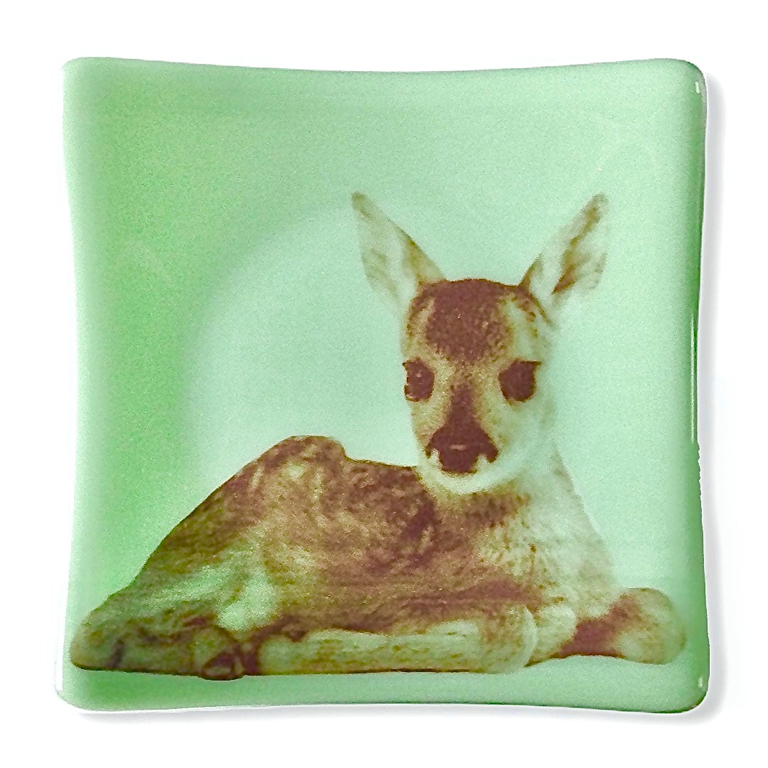 Deer Baby Dish Jadeite Mint Green Glass