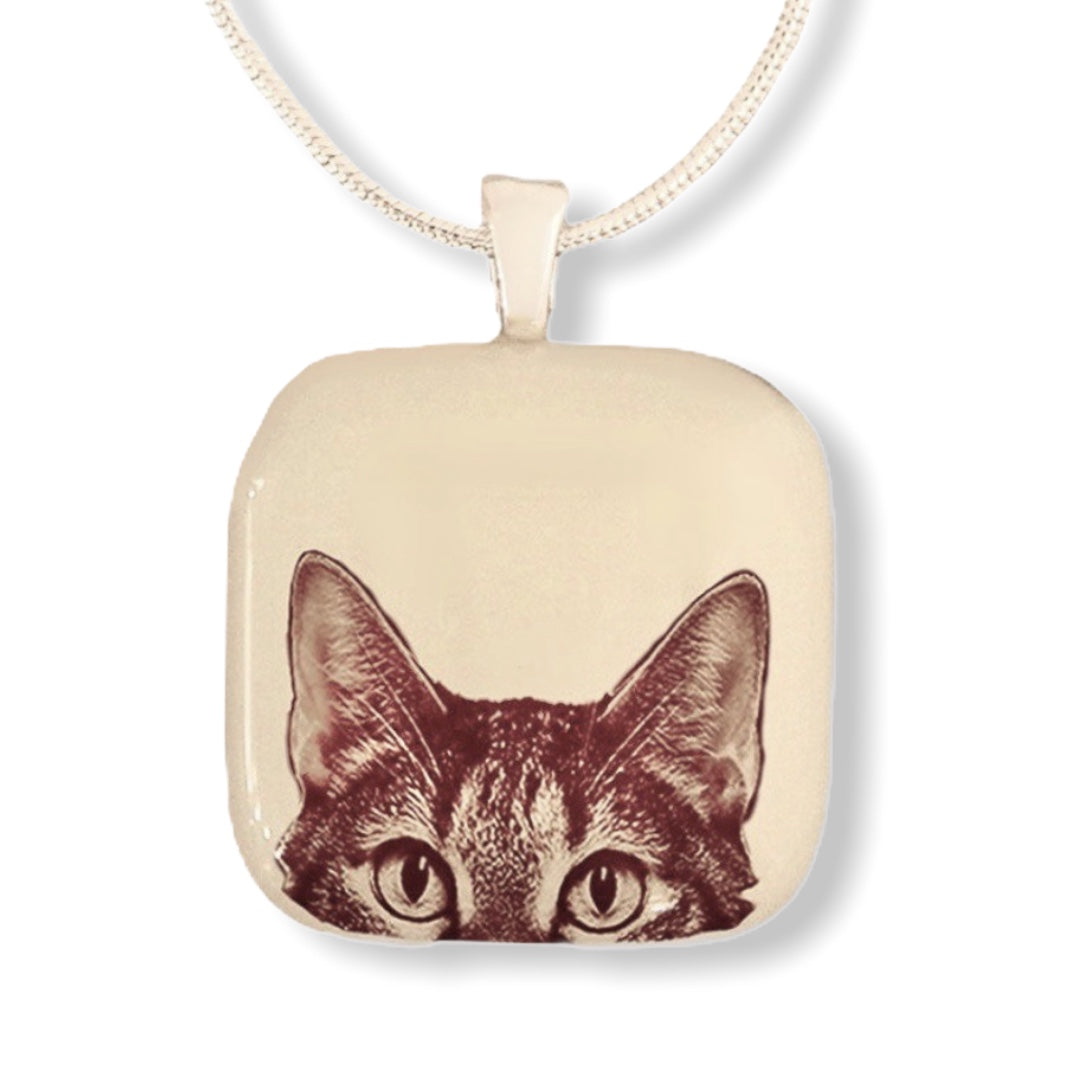 Peaking Kitty Face Pendant Necklace