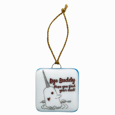 "Elf - Narwhal ""Bye Buddy"" Ornament with Glass ""Glitter"""