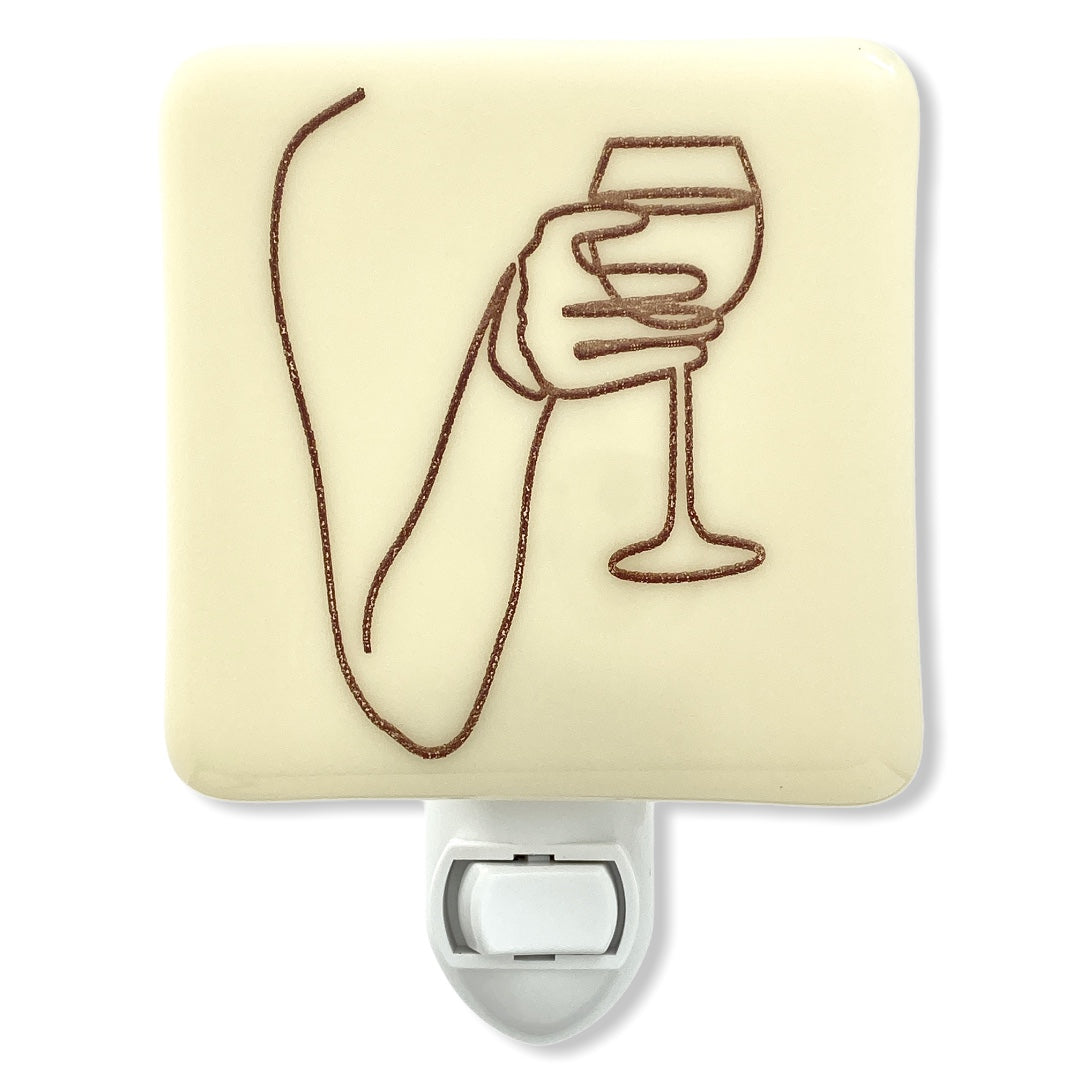 Wine Lovers Line Drawing Night Light