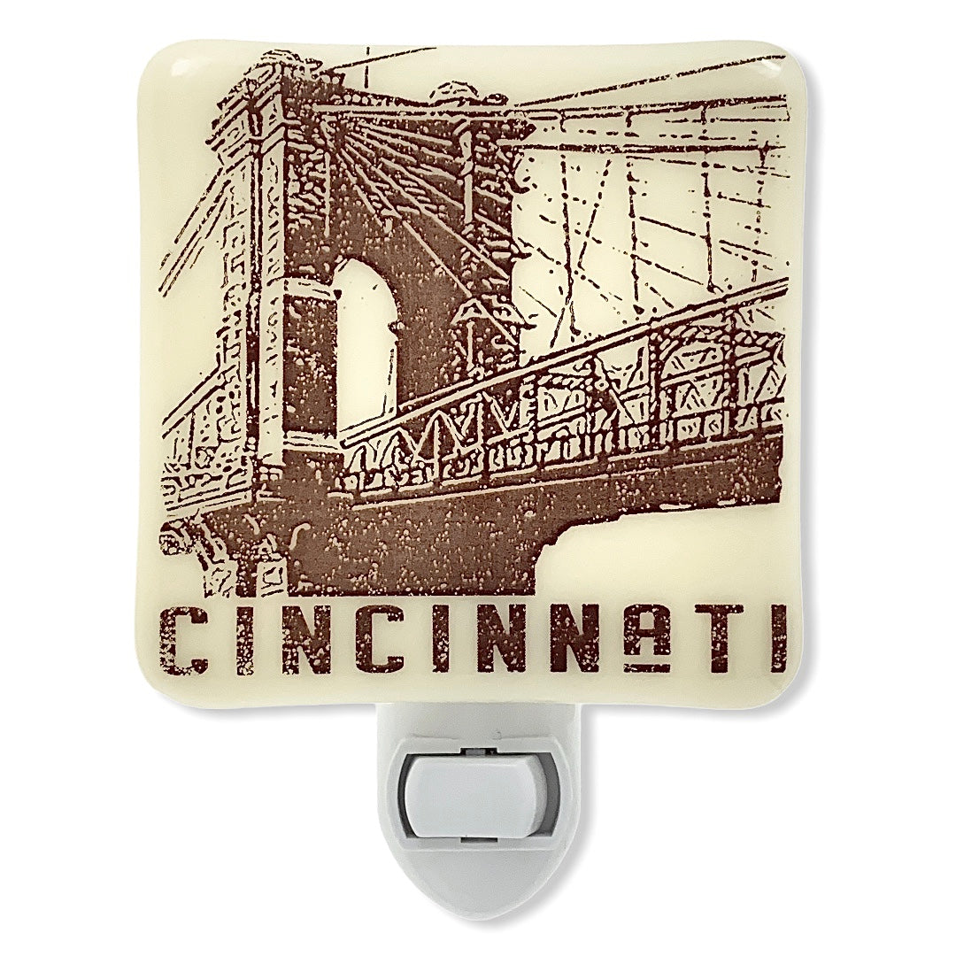 Cincinnati Ohio - Roebling Suspension Bridge Night Light