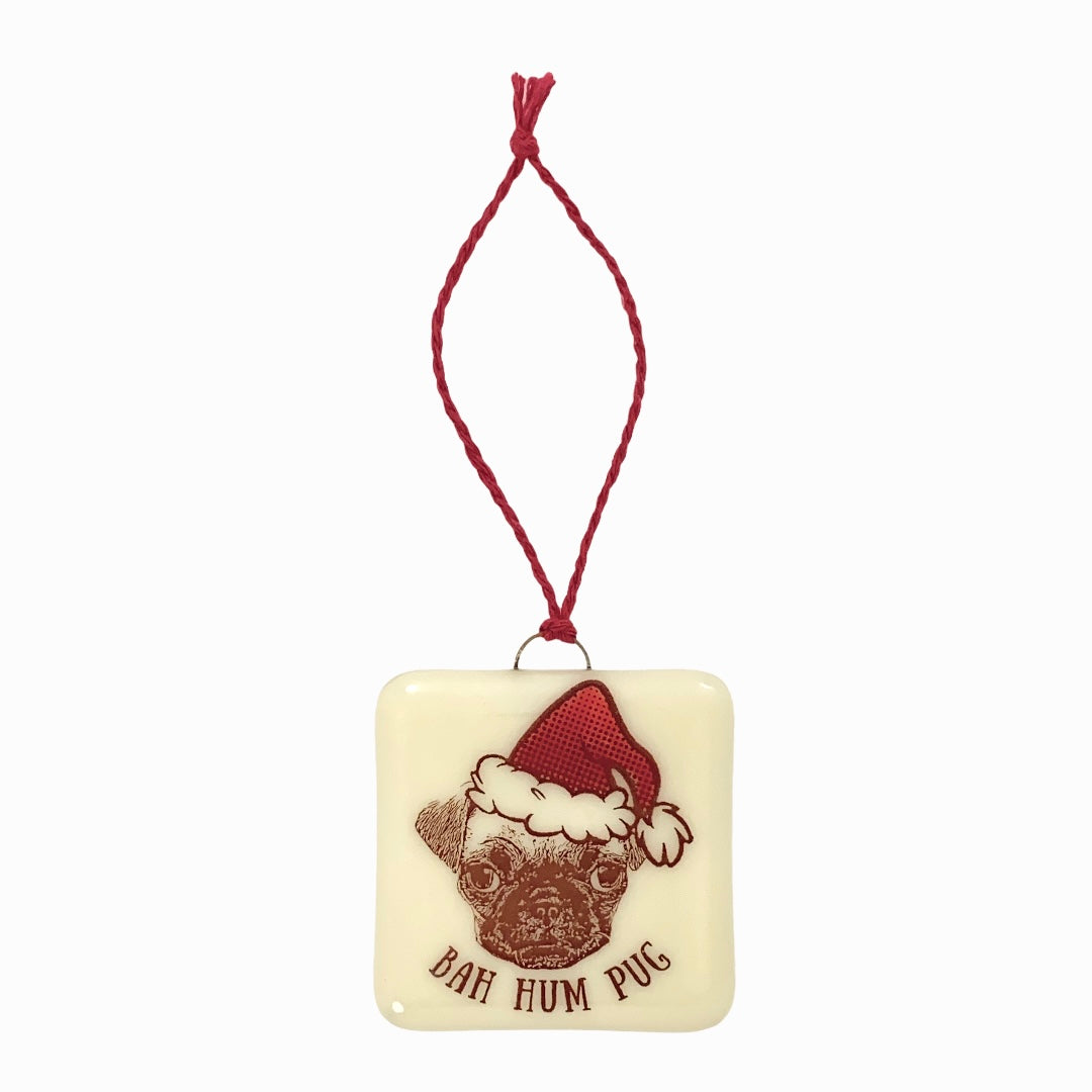 BAH! Hum Pug Christmas Ornament
