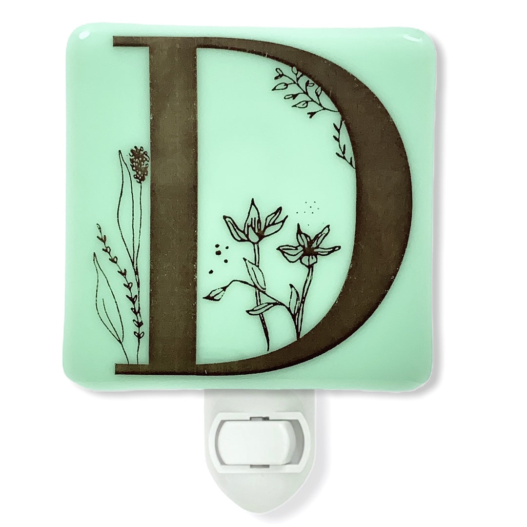 PERSONALIZED Floral Letters Initials Night Light