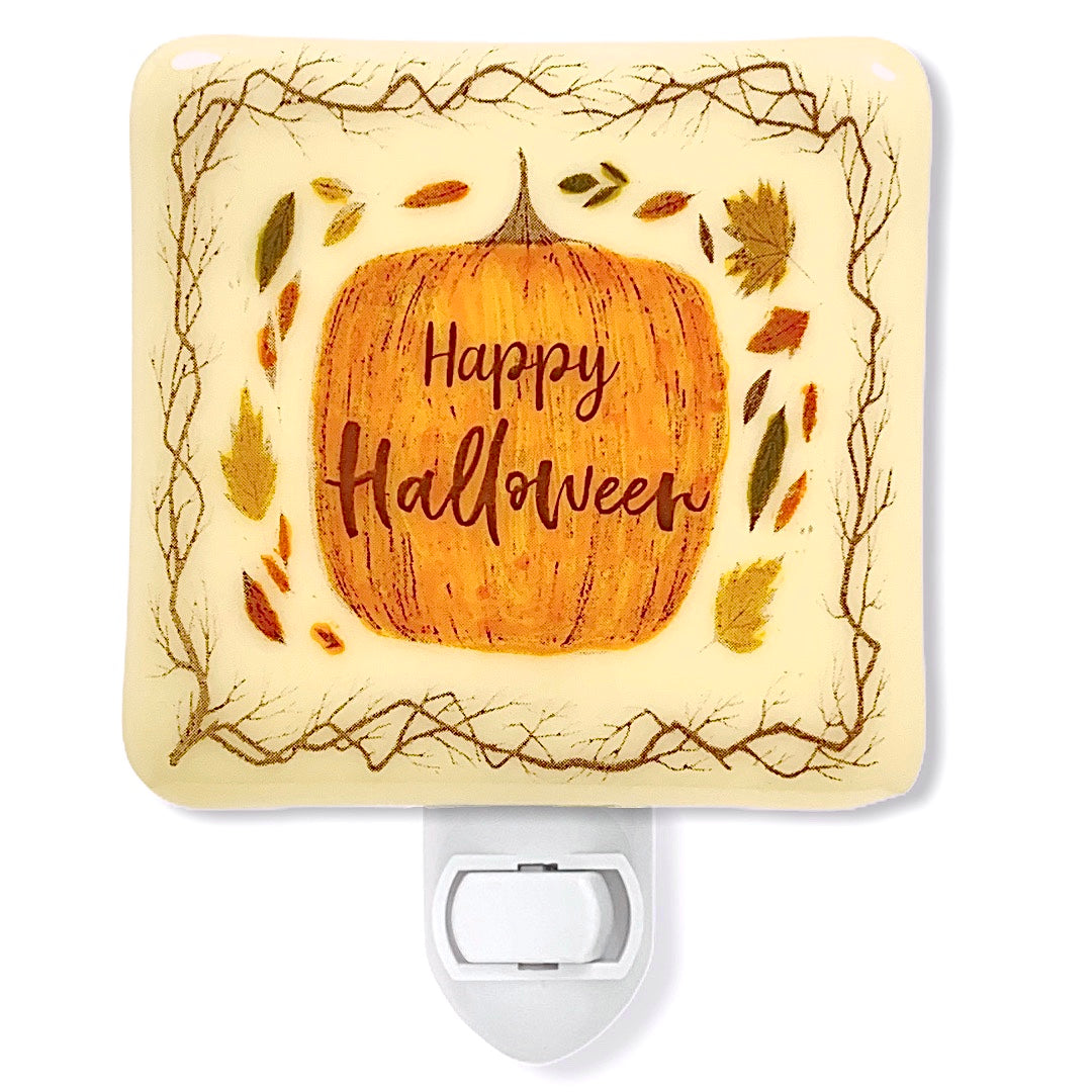 Happy Halloween Pumpkin Night Light - Hand Painted Fall Colors