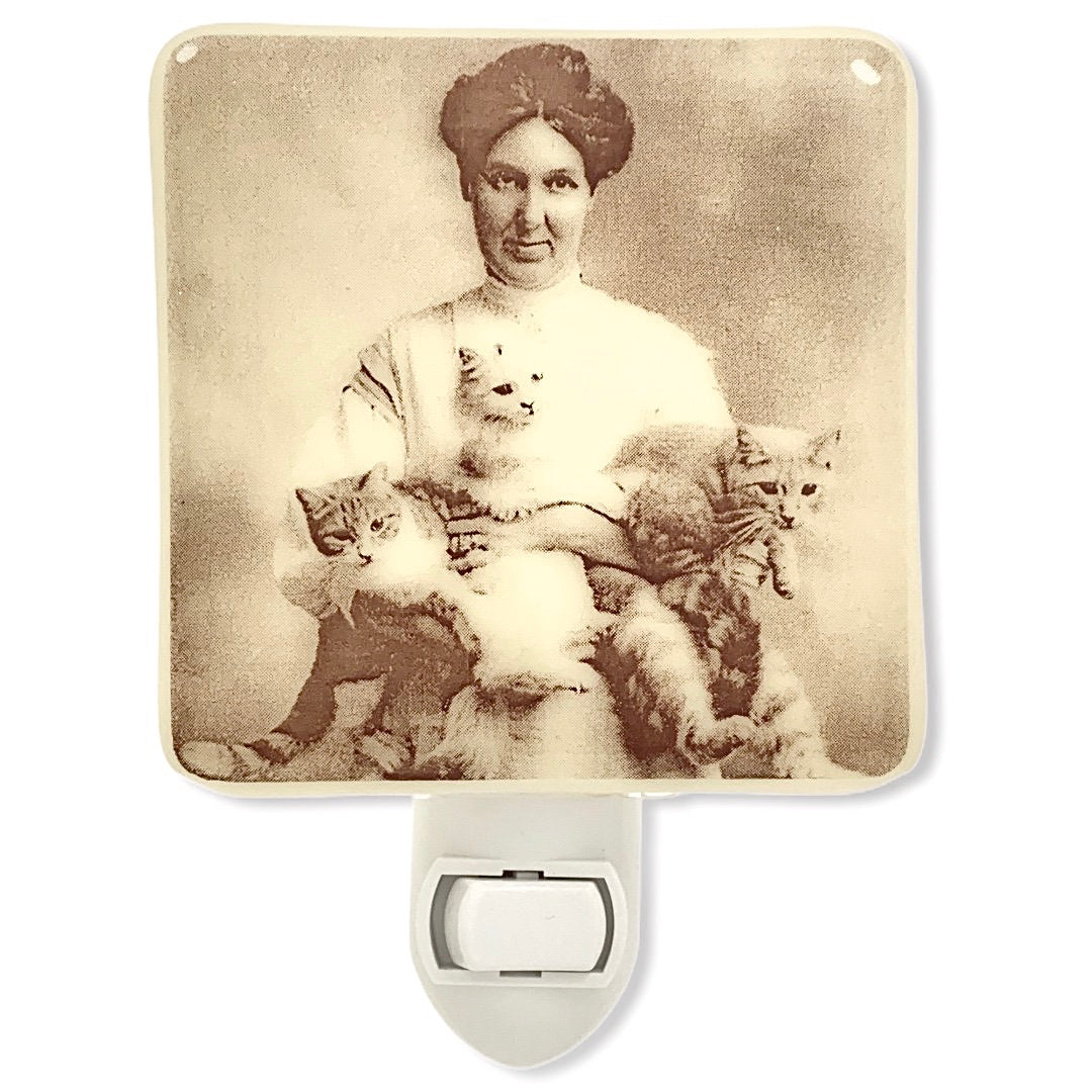Vintage Cat Lady Photo Night Light