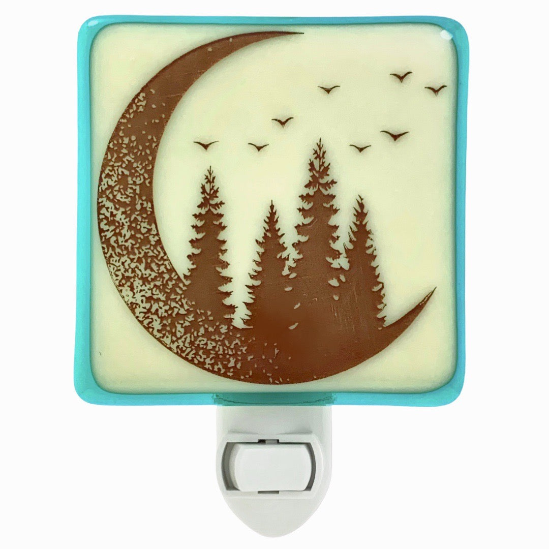 Crescent Moon and Pine Trees Night Light