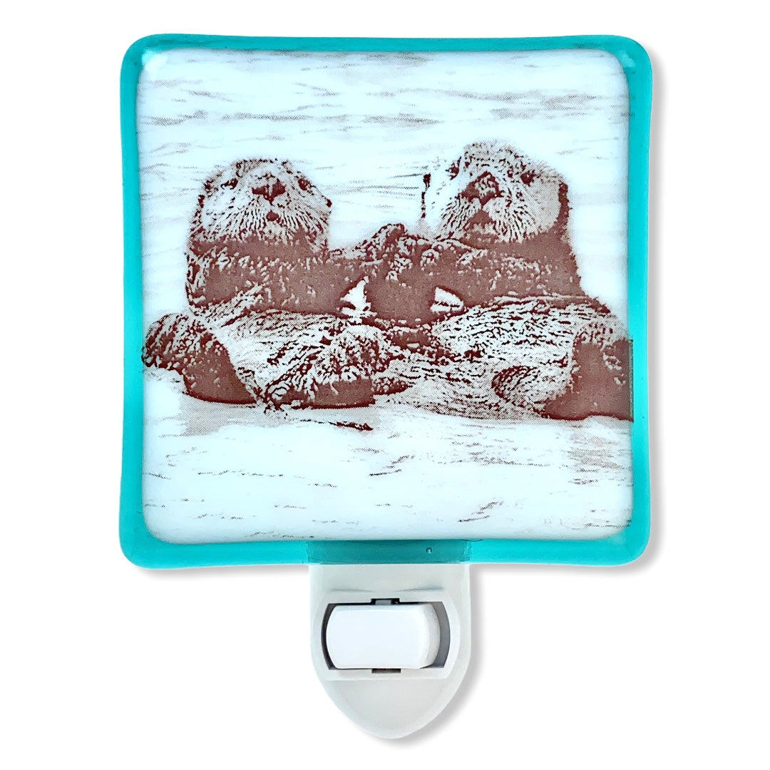 Otters Holding Hands Night Light - Aqua Glass