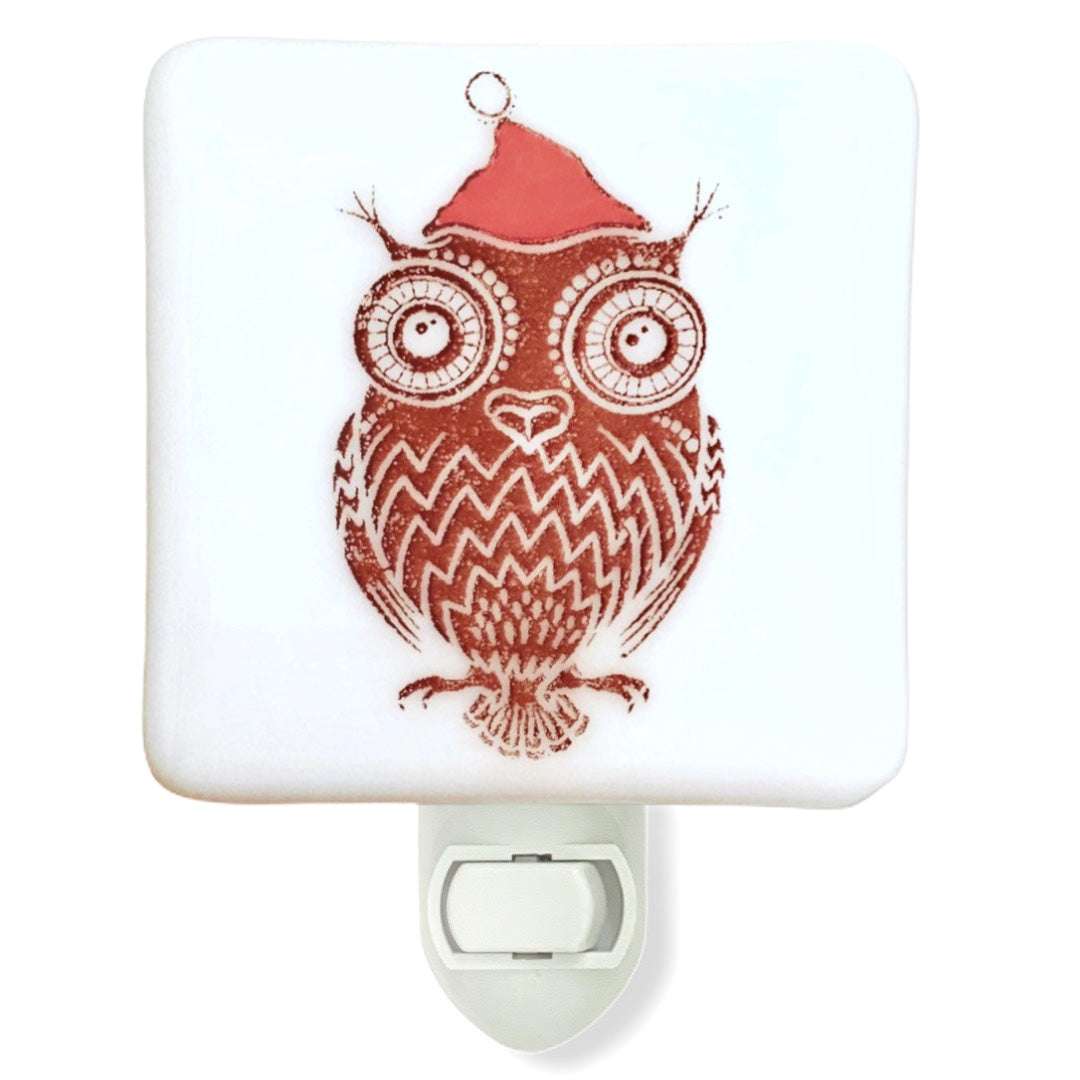 Owl in Christmas Hat Night Light - Hand Painted
