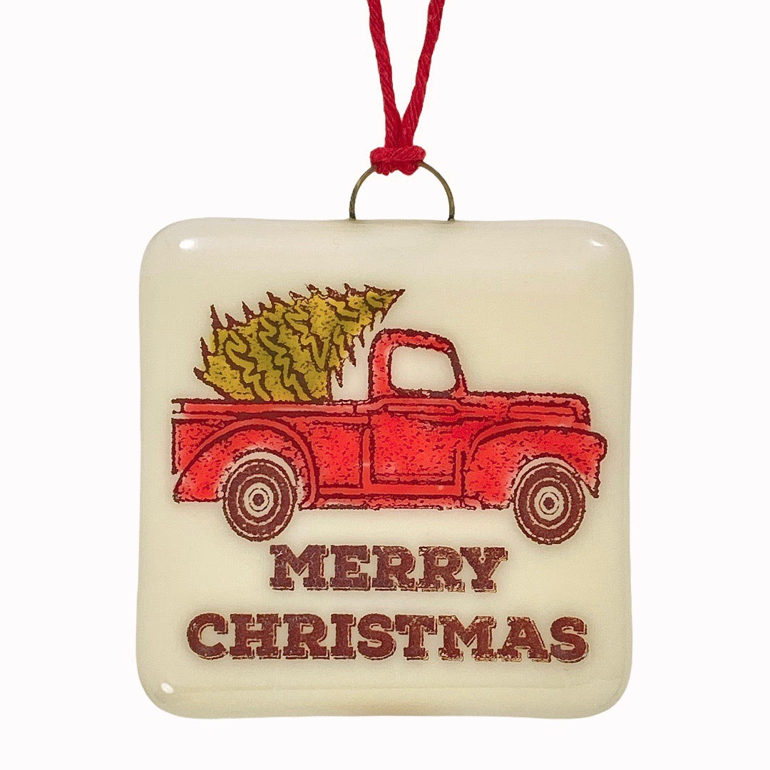 Old Red Truck Christmas Ornament - Hand Painted