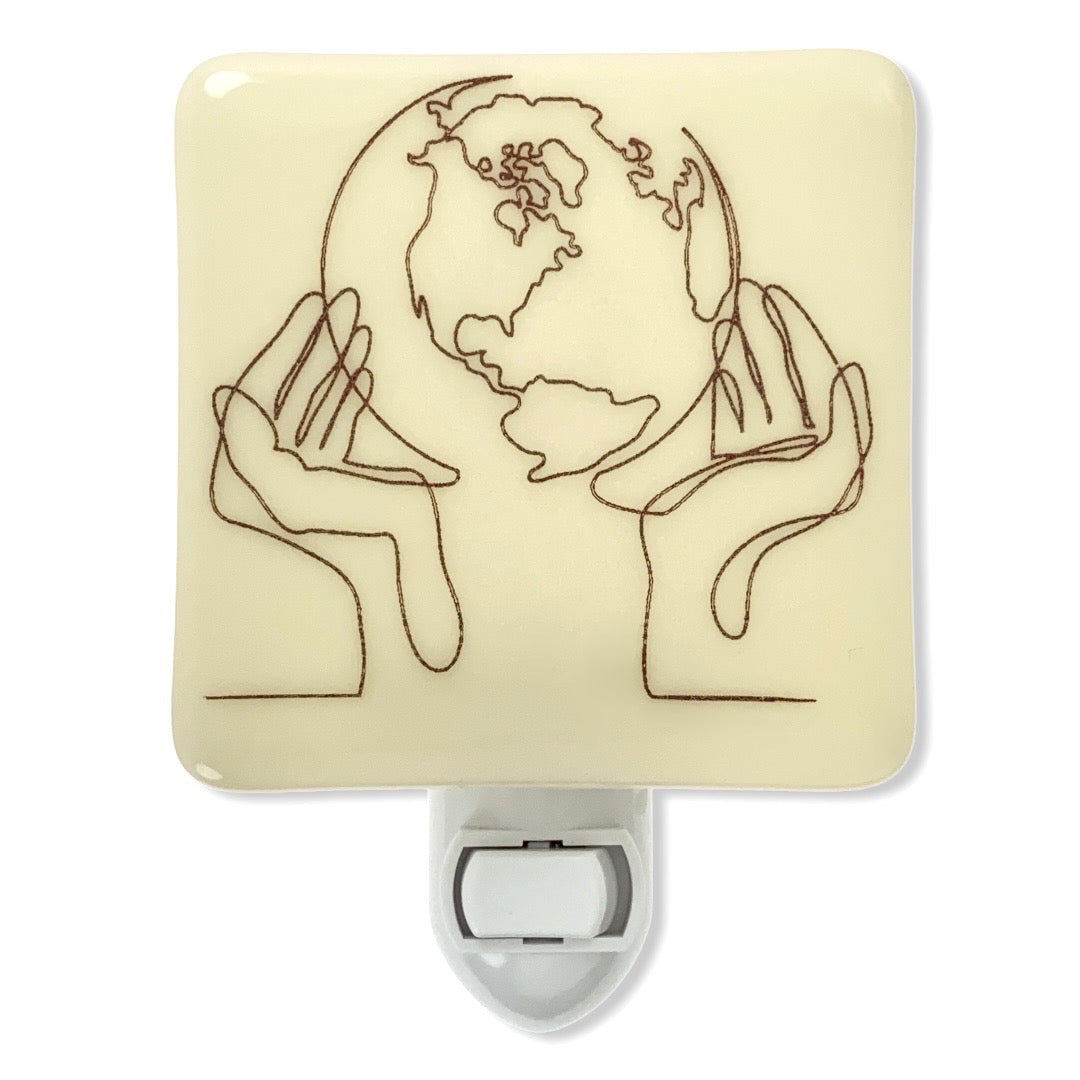 Earth in Hands Line Drawing Night Light