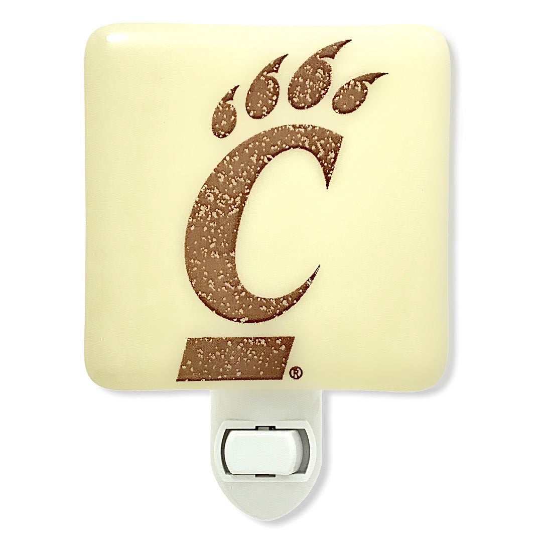 University of Cincinnati -  Bearcats Night Light - Ivory Glass