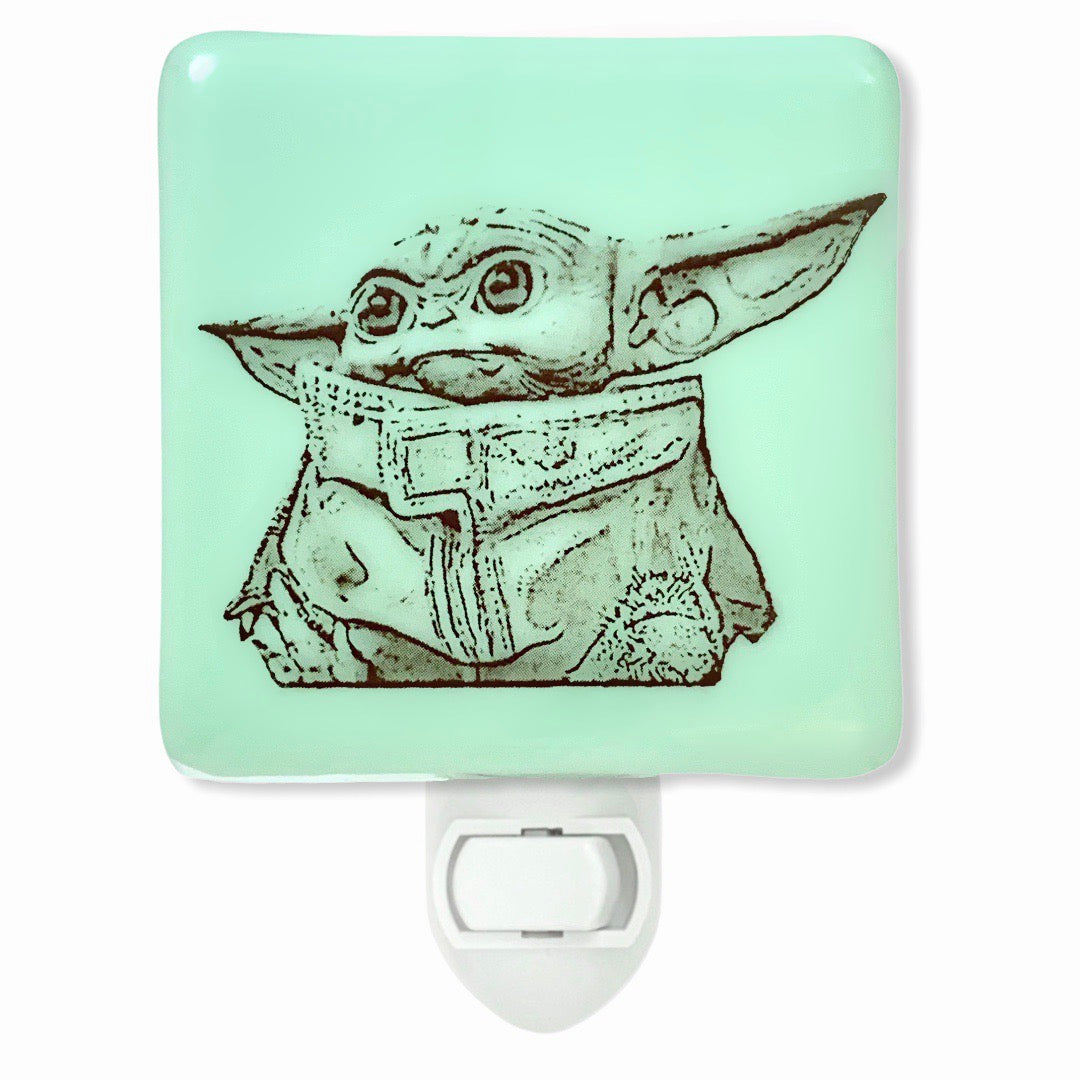 Star Wars - Baby Yoda Mandalorian Night Light - Mint Green Glass