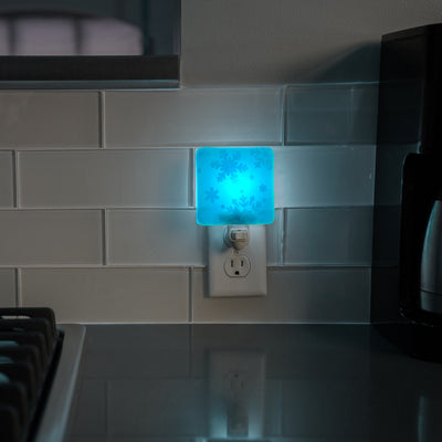 Snowflake Night Light  Peacock Blue Glass with White Enamel