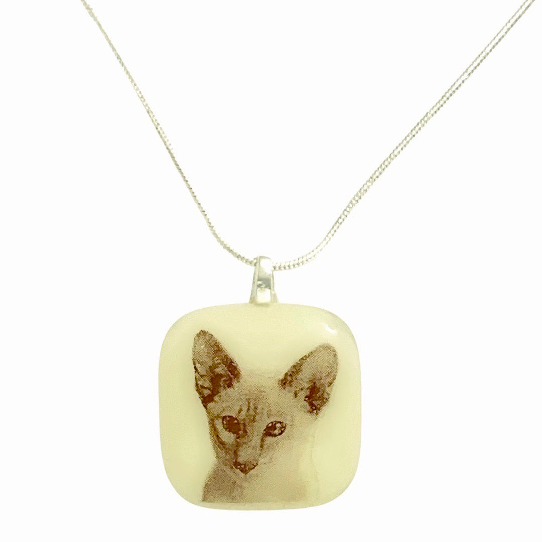 CUSTOM Photo Necklace - Ivory Glass