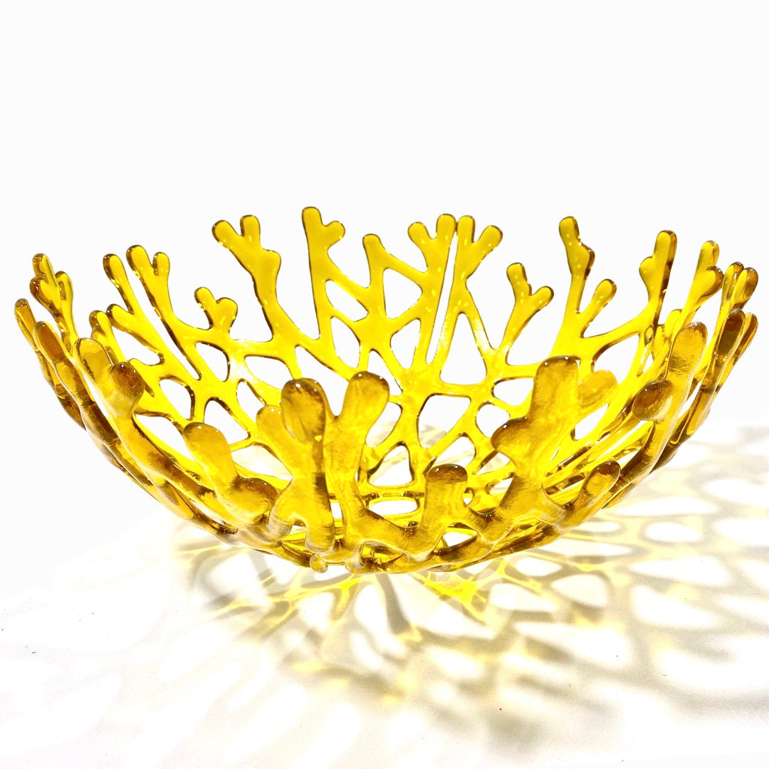 Coral Branch Bowl | Large Yellow Transparent Glass