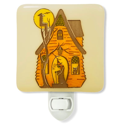 Halloween Vintage Witch in Haunted House Night Light - Hand Painted