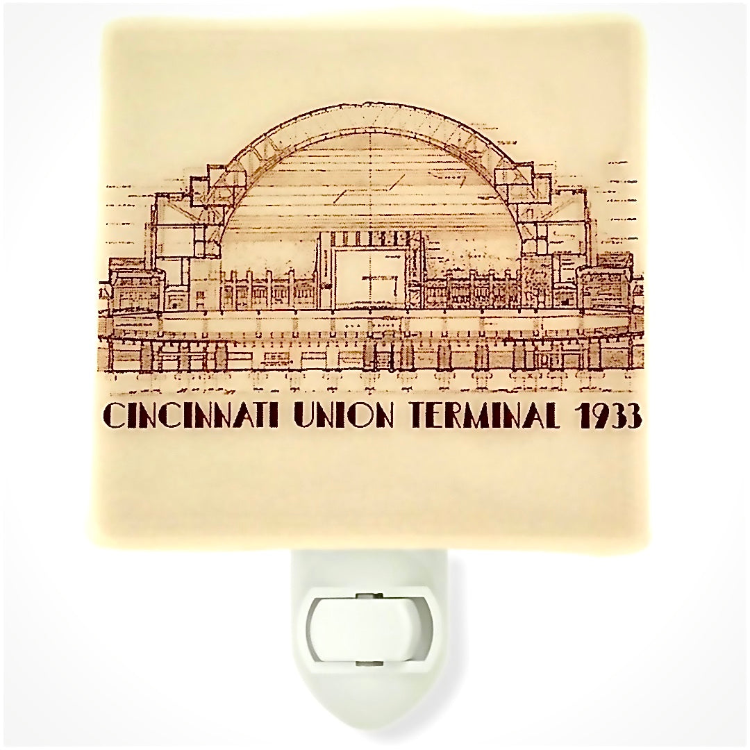 Cincinnati Ohio - Union Terminal - Architectural Illustration Night Light