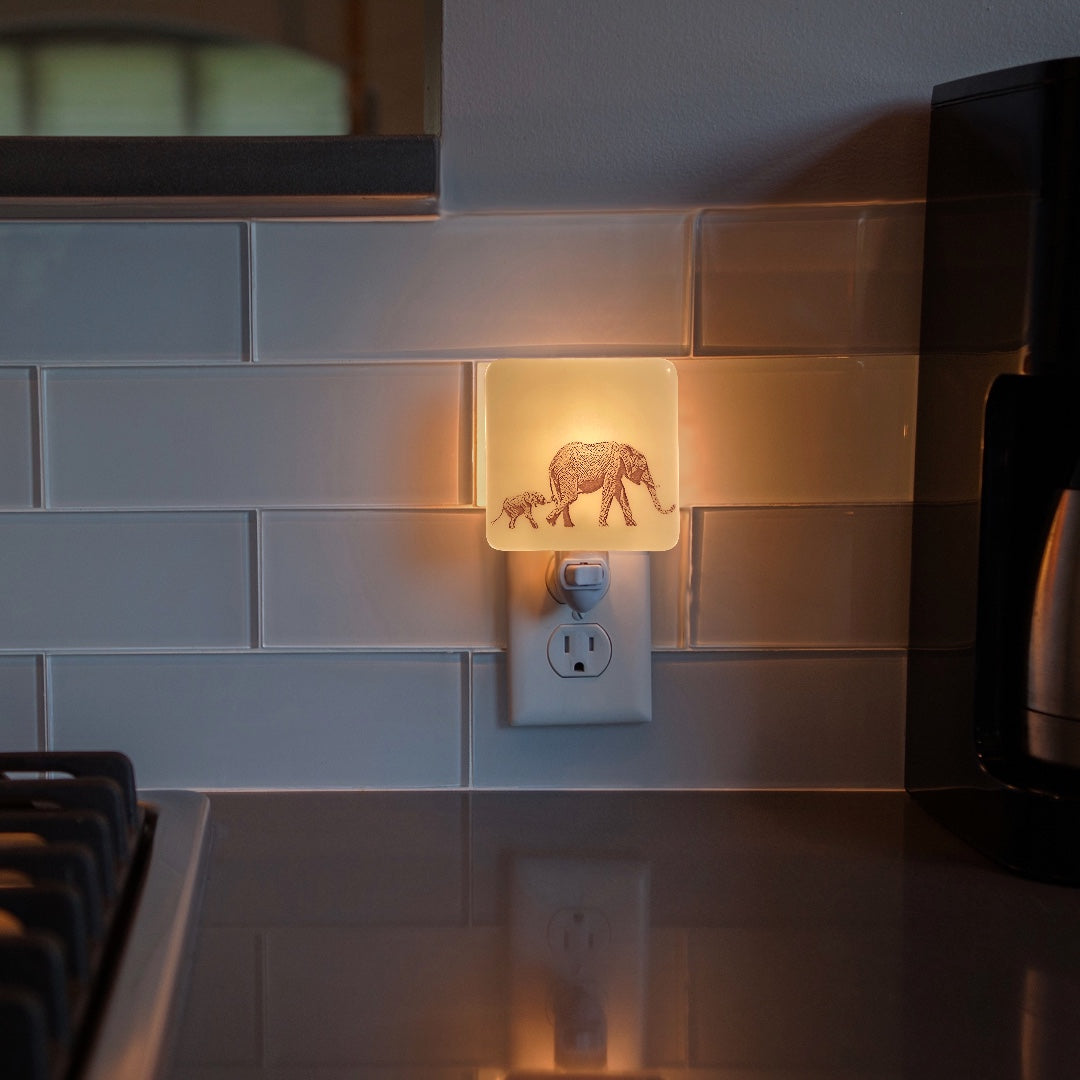 Elephant Mom and Baby Tag-A-Long Night Light