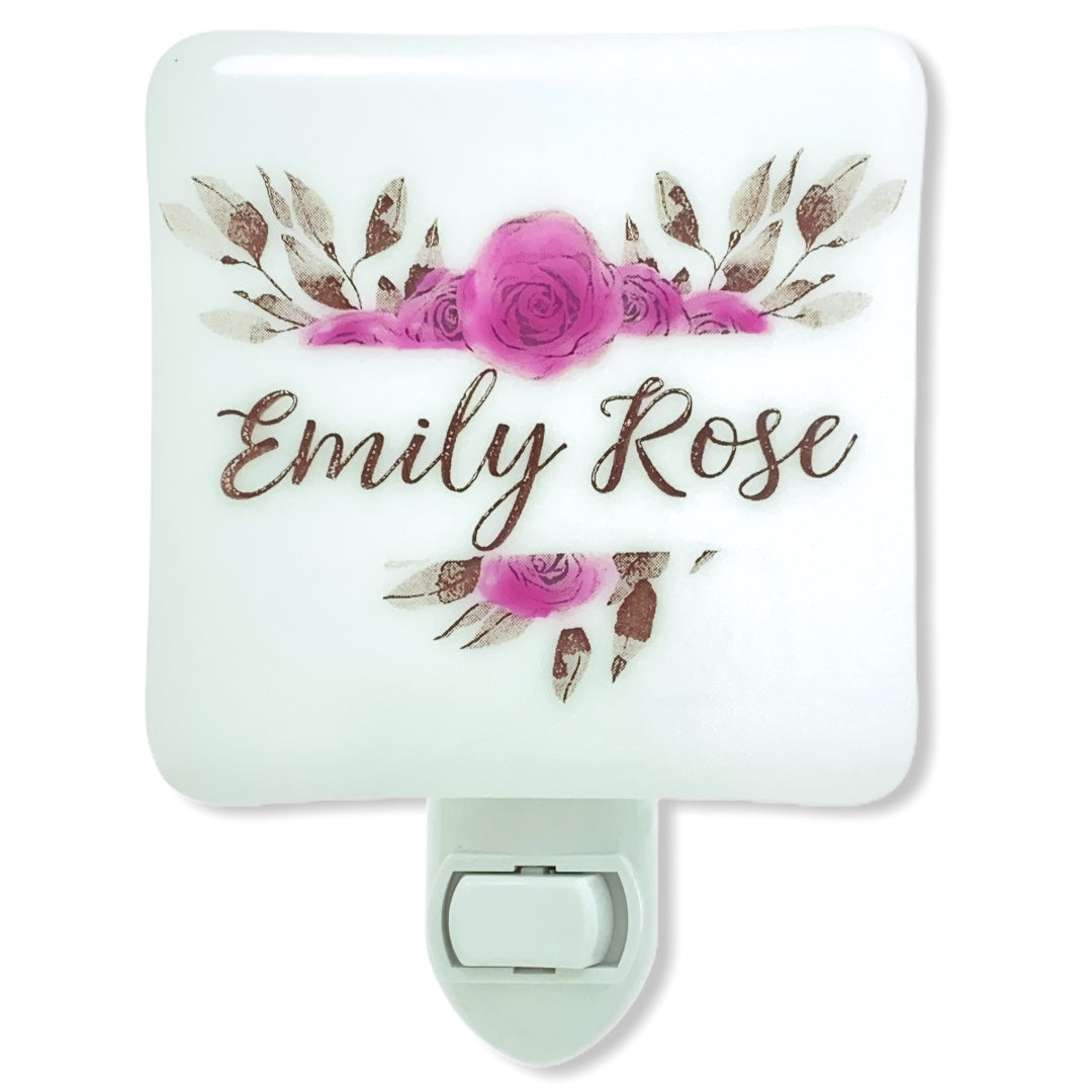 PERSONALIZED Boho Rose Heart Wreath with Name or initials Night Light