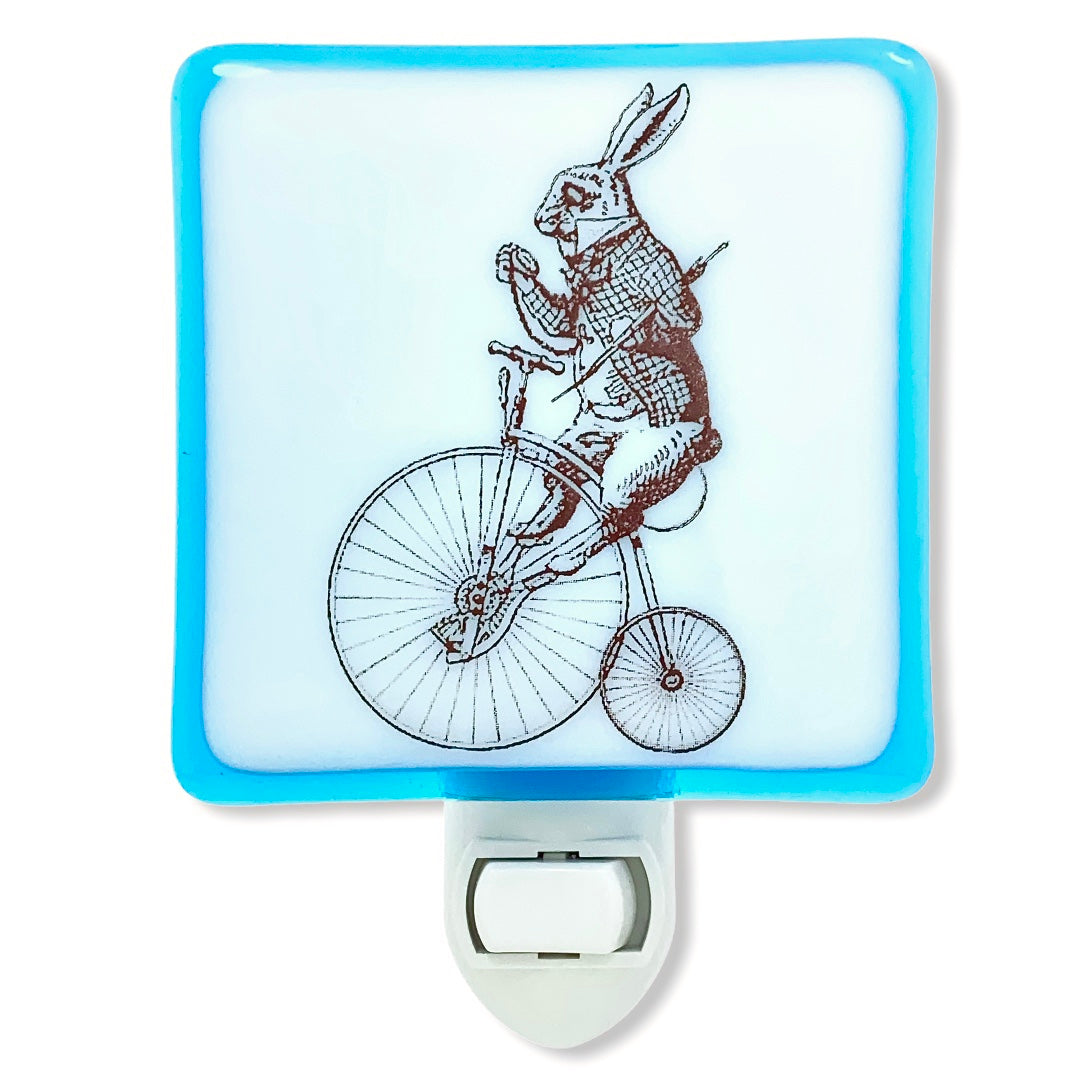 Alice In Wonderland White Rabbit on Bicycle Night Light