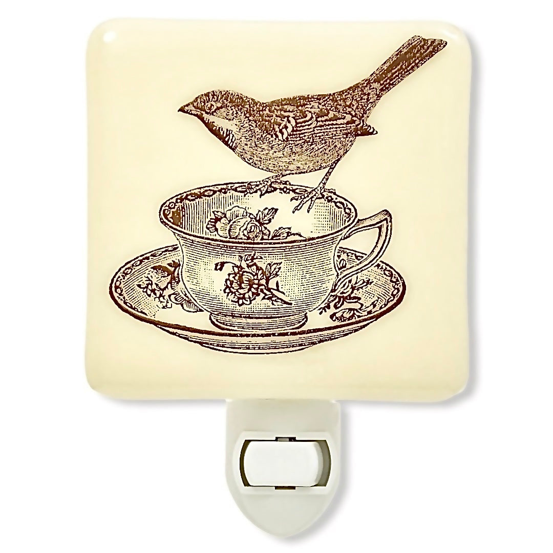 Bird and Vintage Teacup Night Light