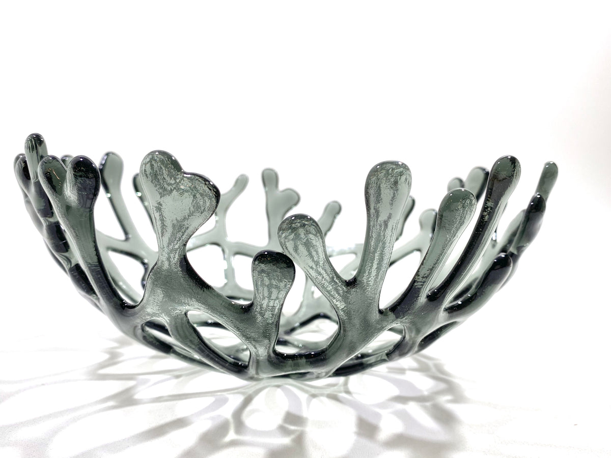 Coral Branch Bowl | Medium Gray Transparent Glass