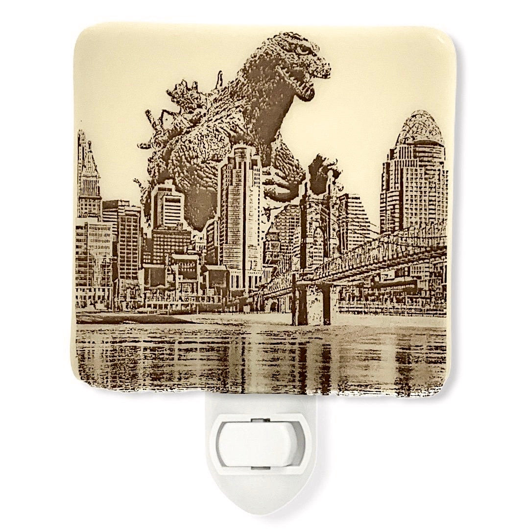 Godzilla Attacks Cincinnati Ohio Night Light