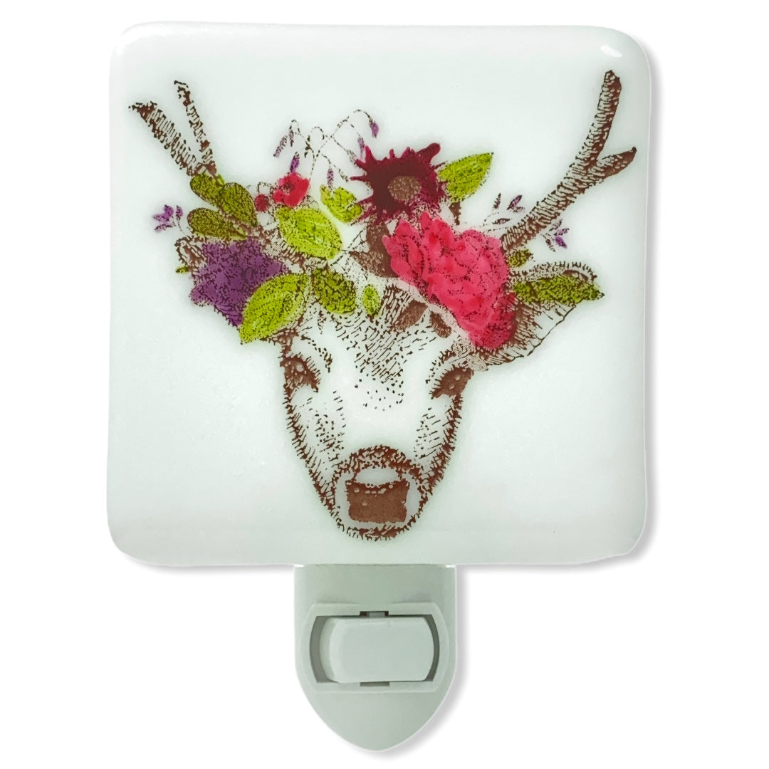 Deer with Flowers Night Light - Hand Painted