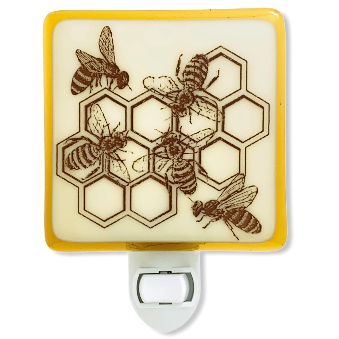 Honey Bees in Honeycomb Night Light